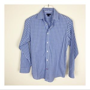 Tommy Hilfiger Blue/White Long-Sleeve Button Shirt